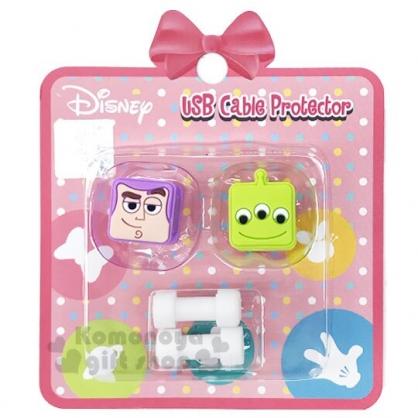 〔小禮堂〕迪士尼 玩具總動員 造型傳輸線保護套組《2入.綠紫.大臉》USB線套.充電線套