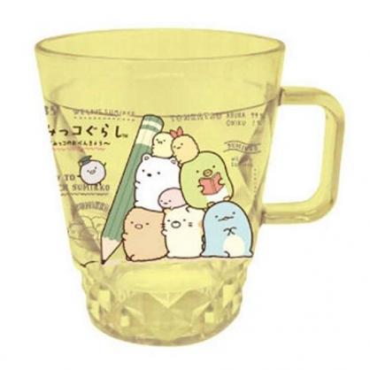 〔小禮堂〕角落生物 菱格紋單耳透明塑膠小水杯《黃.抱鉛筆》280ml.塑膠杯.漱口杯