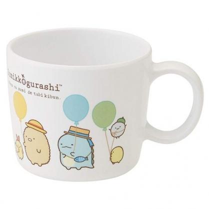 〔小禮堂〕角落生物 單耳美耐皿小水杯《白綠.拿氣球》230ml.塑膠杯.漱口杯