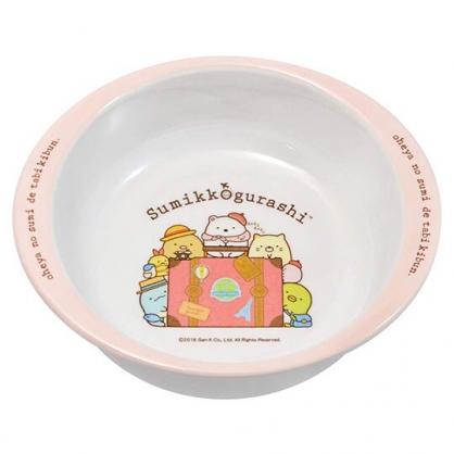 〔小禮堂〕角落生物 雙耳美耐皿平底碗《粉白.行李箱》260ml.飯碗.塑膠碗.兒童碗