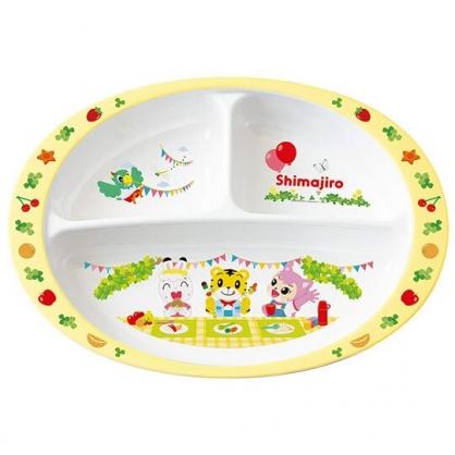 〔小禮堂〕巧虎 橢圓三格美耐皿餐盤《白黃.野餐》750ml.塑膠盤.兒童餐盤