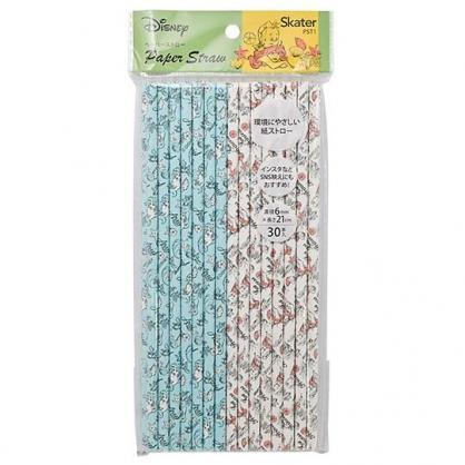 〔小禮堂〕迪士尼 小美人魚 直徑6mm環保紙吸管組《30支入.淺藍白》21cm環保吸管