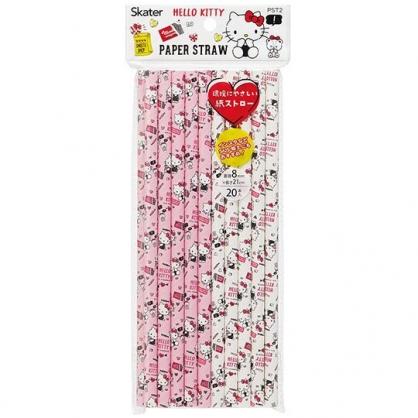 〔小禮堂〕Hello Kitty 直徑8mm環保紙吸管組《20支入.粉白》21cm環保吸管