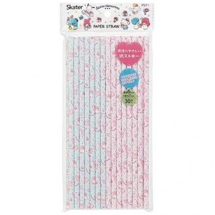 〔小禮堂〕Sanrio大集合 直徑6mm環保紙吸管組《30支入.紫綠》21cm環保吸管