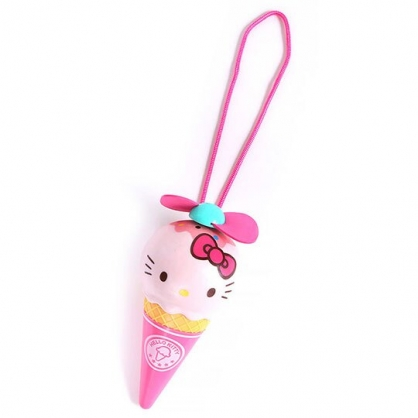 〔小禮堂〕Hello Kitty 軟葉片冰淇淋造型電池式隨身風扇《粉》手握扇.手持電風扇