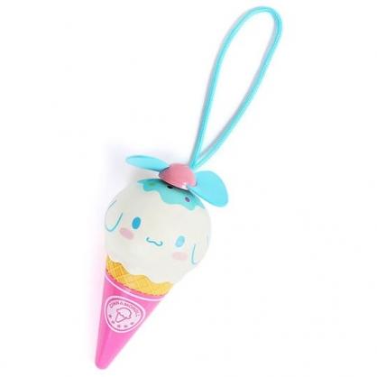 〔小禮堂〕大耳狗 軟葉片冰淇淋造型電池式隨身風扇《粉藍》手握扇.手持電風扇