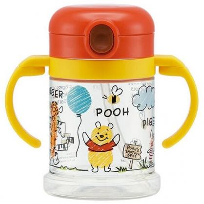 〔小禮堂〕迪士尼 小熊維尼 透明彈蓋雙耳吸管幼兒學習杯《紅棕.插畫風》260ml.隨身瓶.水瓶