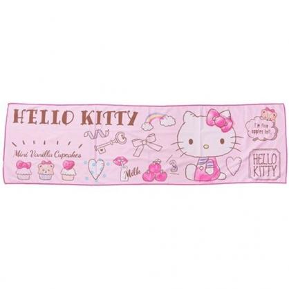 〔小禮堂〕Hello Kitty 棉質涼感長毛巾《粉.杯子蛋糕》30x100cm.涼感圍巾.運動毛巾
