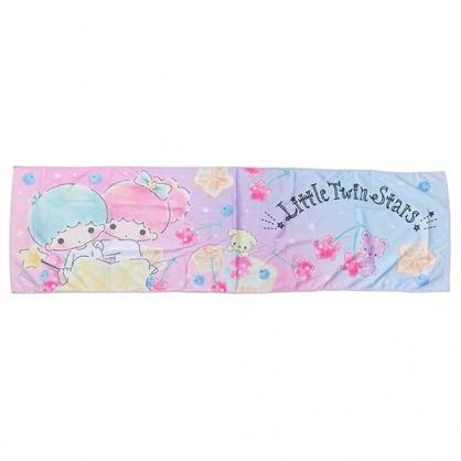 〔小禮堂〕雙子星 棉質涼感長毛巾《粉紫.水果》30x100cm.涼感圍巾.運動毛巾