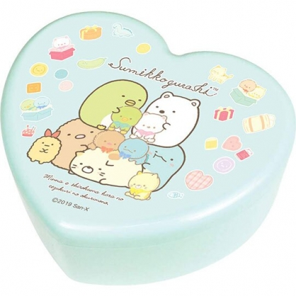 〔小禮堂〕角落生物 愛心造型塑膠掀蓋收納盒附鏡《綠黃.抱玩偶》飾品盒.珠寶盒