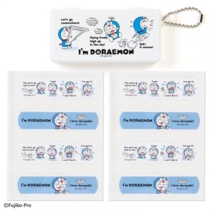 〔小禮堂〕哆啦A夢 日製OK蹦附收納盒《藍白.奔跑》8枚入.繃帶.貼布