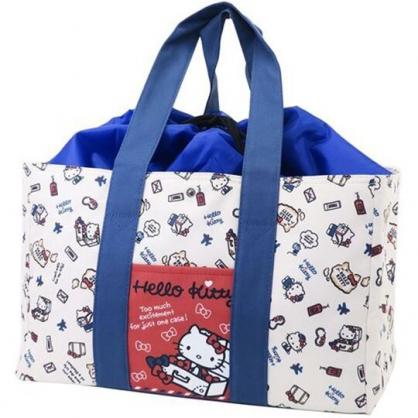 〔小禮堂〕Hello Kitty 橫式尼龍束口保冷側背袋《米藍.箱子裡》購物袋.肩背袋.野餐袋