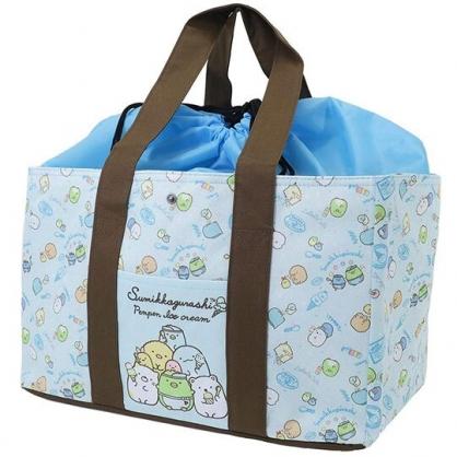 〔小禮堂〕角落生物 橫式尼龍束口保冷側背袋《綠棕.冰淇淋》購物袋.肩背袋.野餐袋