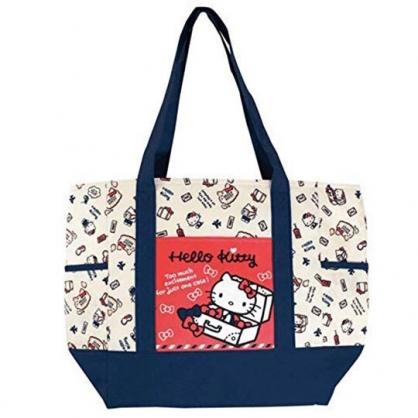 〔小禮堂〕Hello Kitty 橫式尼龍拉鍊保冷側背袋《米藍.箱子裡》購物袋.肩背袋.野餐袋
