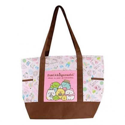 〔小禮堂〕角落生物 橫式尼龍拉鍊保冷側背袋《粉棕.冰淇淋》購物袋.肩背袋.野餐袋