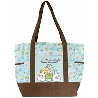 〔小禮堂〕角落生物 橫式尼龍拉鍊保冷側背袋《綠棕.冰淇淋》購物袋.肩背袋.野餐袋