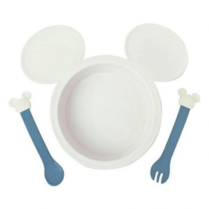 〔小禮堂〕迪士尼 米奇 日製兒童造型塑膠三件式餐具組《灰藍.大臉》餐盤.叉匙.兒童餐具