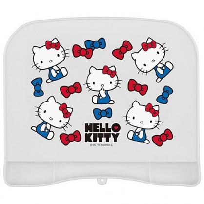 〔小禮堂〕Hello Kitty 可收納方形矽膠防漏餐墊《白.側坐》桌墊.兒童餐墊