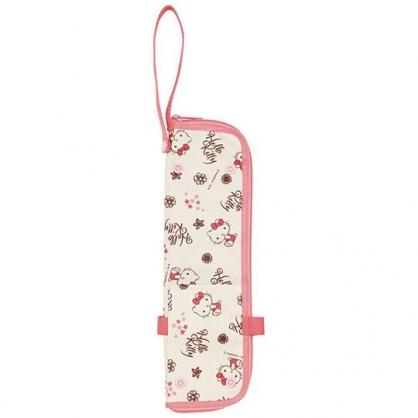 〔小禮堂〕Hello Kitty 尼龍吸水速乾折傘套《粉米.文字》收納袋.傘袋.水壺袋