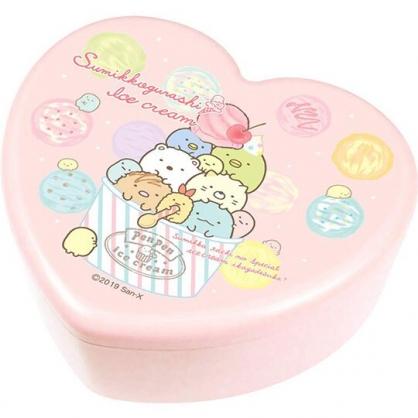 〔小禮堂〕角落生物 愛心造型塑膠掀蓋收納盒附鏡《粉.冰淇淋》飾品盒.珠寶盒