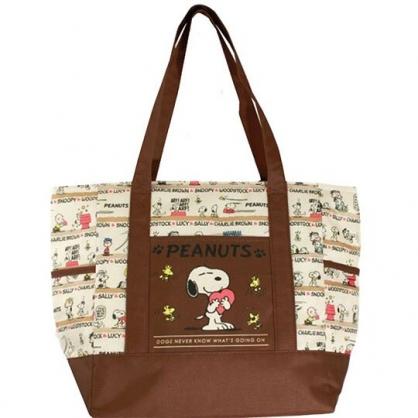 〔小禮堂〕史努比 橫式尼龍拉鍊保冷側背袋《米棕.抱愛心》購物袋.肩背袋.野餐袋