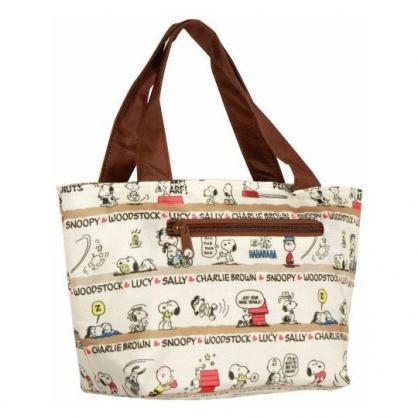 〔小禮堂〕史努比 尼龍保冷手提便當袋《米棕.文字滿版》手提袋.野餐袋.保冷袋