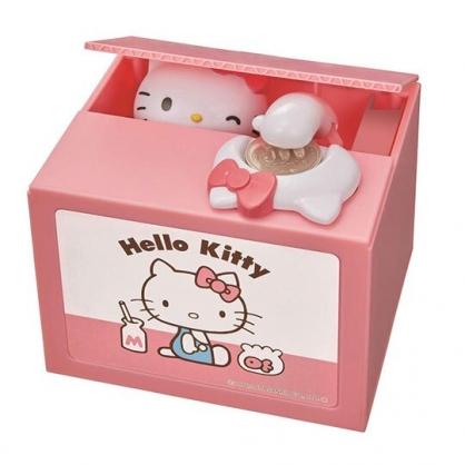 〔小禮堂〕Hello Kitty 偷錢箱存錢筒《粉黃.側坐》撲滿.儲金筒