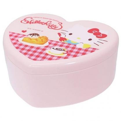 〔小禮堂〕Hello Kitty 愛心造型塑膠掀蓋收納盒附鏡《紅粉.下午茶》飾品盒.珠寶盒