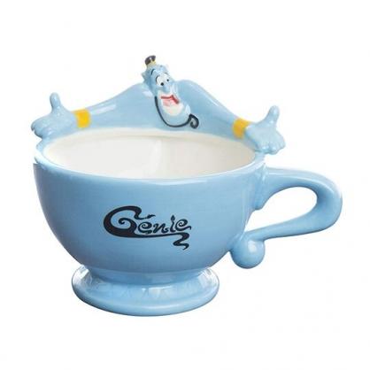 〔小禮堂〕迪士尼 阿拉丁神燈 造型陶瓷馬克杯《藍.張手》茶杯.咖啡杯