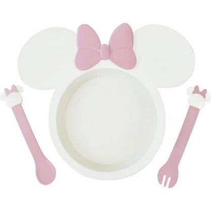 〔小禮堂〕迪士尼 米妮 日製兒童造型塑膠三件式餐具組《粉米.大臉》餐盤.叉匙.兒童餐具