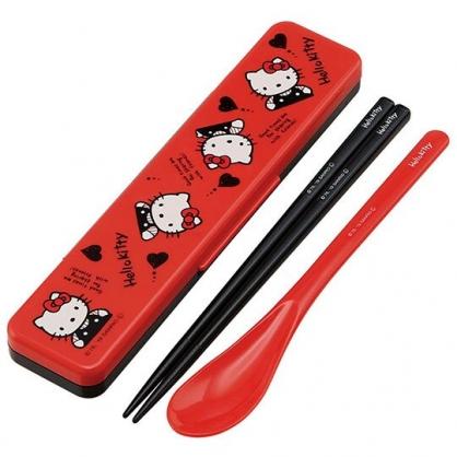 〔小禮堂〕Hello Kitty 日製盒裝匙筷餐具組《紅黑.愛心》環保餐具.兒童餐具