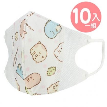 〔小禮堂〕角落生物 兒童立體三層不織布口罩組《10入.粉.排坐》面罩.衛生用品