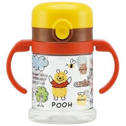 〔小禮堂〕迪士尼 小熊維尼 透明彈蓋可彎把雙耳學習杯《紅棕.插畫風》260ml.兒童水壺