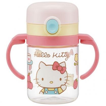 〔小禮堂〕Hello Kitty 透明彈蓋可彎把雙耳學習杯《粉黃.招手》260ml.兒童水壺