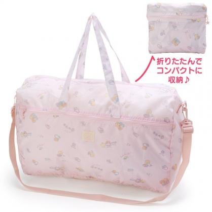 〔小禮堂〕雙子星 折疊尼龍拉桿行李袋《淡粉》旅行袋.收納袋.2019旅行系列