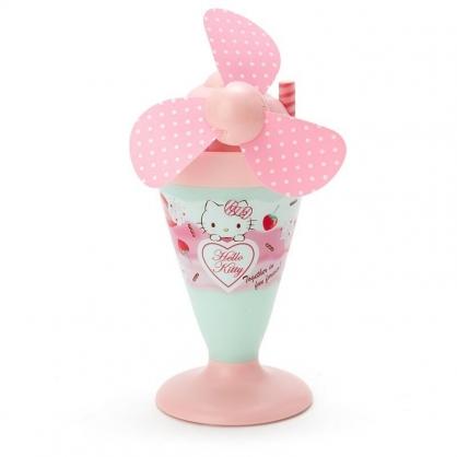 〔小禮堂〕Hello Kitty 軟葉片冰淇淋造型電池式隨身風扇《粉綠》立扇.手持電風扇