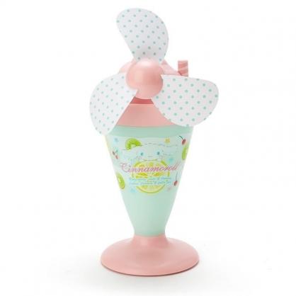 〔小禮堂〕大耳狗 軟葉片冰淇淋造型電池式隨身風扇《粉綠》立扇.手持電風扇