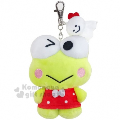 〔小禮堂〕大眼蛙 絨毛玩偶娃娃吊飾《綠紅.眨眼》掛飾.鑰匙圈.擺飾
