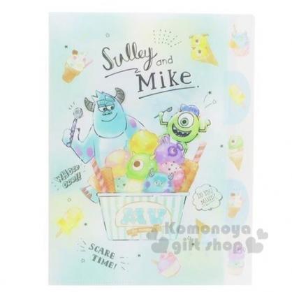 〔小禮堂〕迪士尼 怪獸大學 L型分類文件夾《A4.綠白.冰淇淋》資料夾.L夾.檔案夾