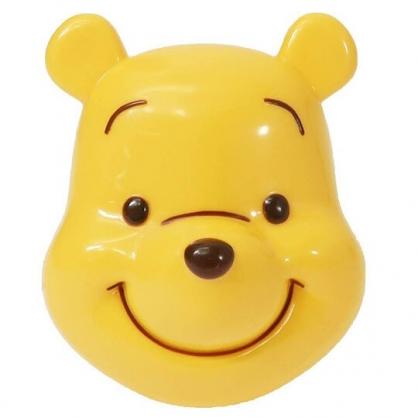 〔小禮堂〕迪士尼 小熊維尼 大臉造型氣墊蛋形梳《黃》氣墊梳.按摩梳