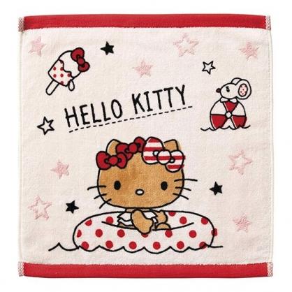 〔小禮堂〕Hello Kitty 純棉割絨方形毛巾《粉棕.坐泳圈》34x36cm.手帕.方巾.丸真毛巾