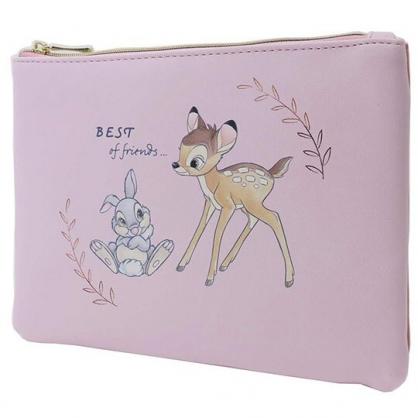 〔小禮堂〕迪士尼 小鹿斑比 皮質扁平拉鍊化妝包《粉棕.對看》收納包.萬用包