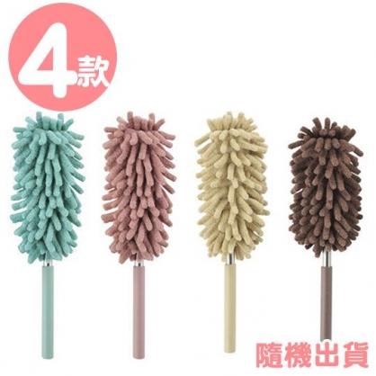 〔小禮堂〕短柄可彎曲伸縮除塵刷《4款隨機.粉/棕/藍/黃》刷具.撢子.清潔刷