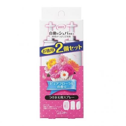〔小禮堂〕日本雞仔牌 除臭機補充瓶組《2入.粉》39ml.清新花香.芳香劑
