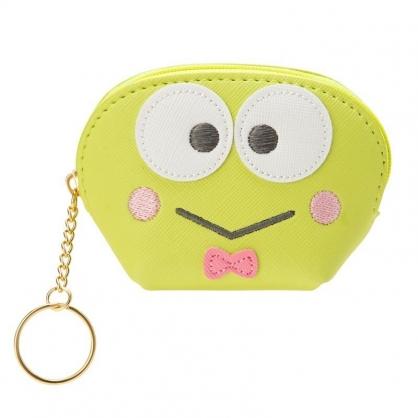 〔小禮堂〕大眼蛙 皮質半圓拉鍊鑰匙圈零錢包《綠.大臉》收納包.耳機包.掛飾