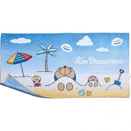 〔小禮堂〕哆啦A夢 純綿割絨涼毯浴巾《藍黃.躺沙灘》70x140cm.薄毯.冷氣毯
