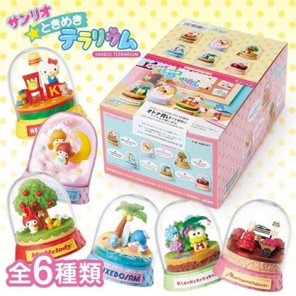 〔小禮堂〕Sanrio大集合 迷你透明水晶球玩具組《6入.粉黃盒裝》擺飾.公仔.盒玩