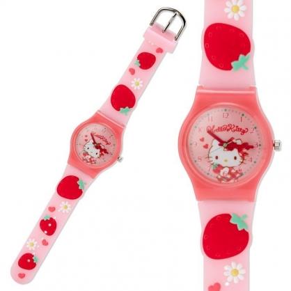 〔小禮堂〕Hello Kitty 造型矽膠錶帶兒童手錶《紅粉.草莓》休閒錶.透明盒裝