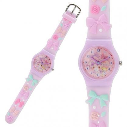 〔小禮堂〕蹦蹦兔 造型矽膠錶帶兒童手錶《紫綠.蝴蝶結》休閒錶.透明盒裝