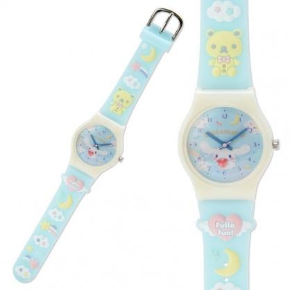 〔小禮堂〕大耳狗 造型矽膠錶帶兒童手錶《藍黃.雲朵》休閒錶.透明盒裝